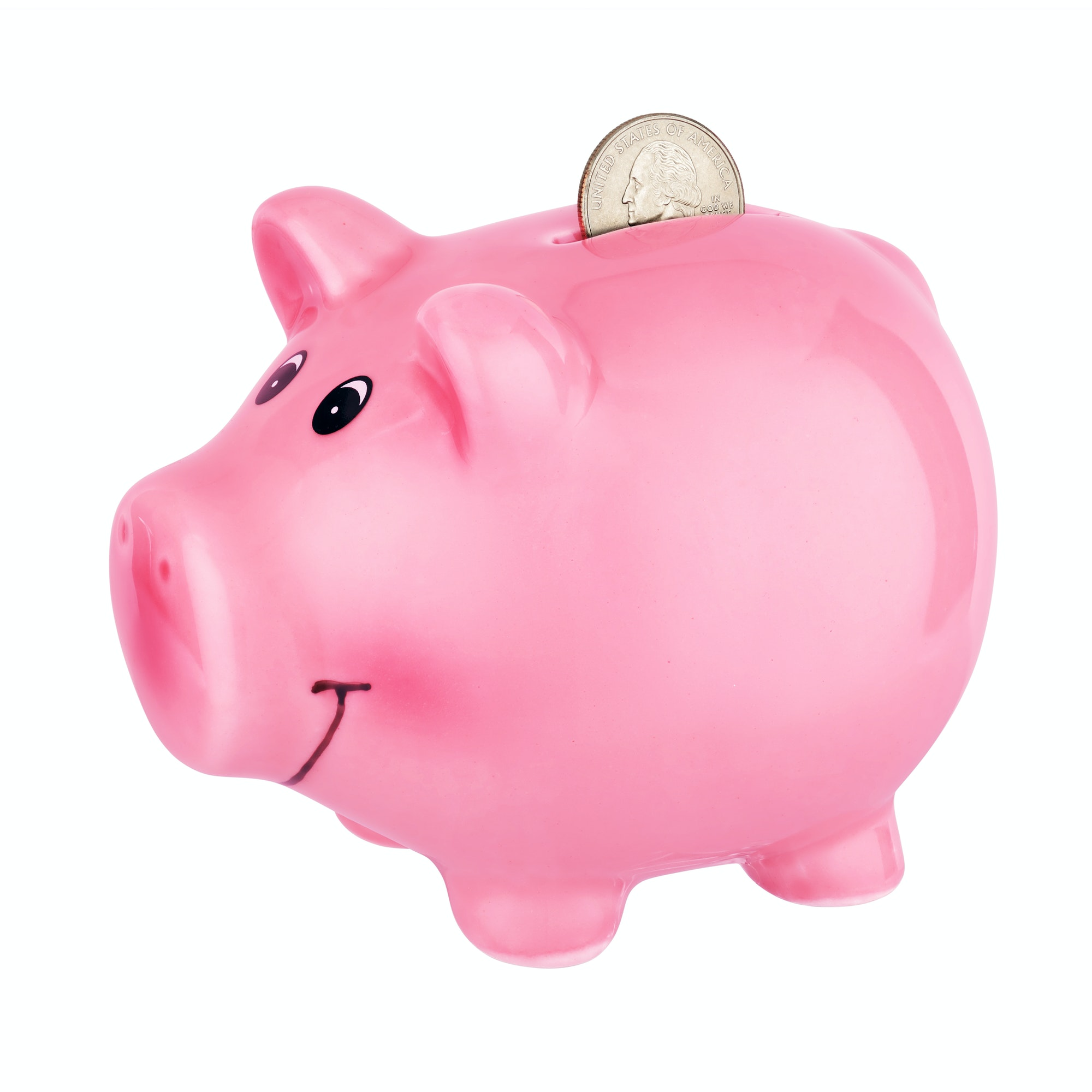 Pink piggy bank with coin isolated on white background